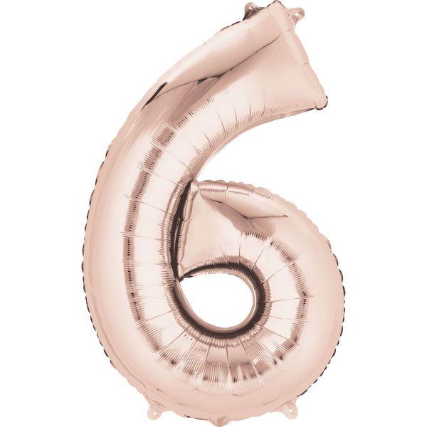Zahl Rose Gold - 6 Folienballon 55 X 88 cm