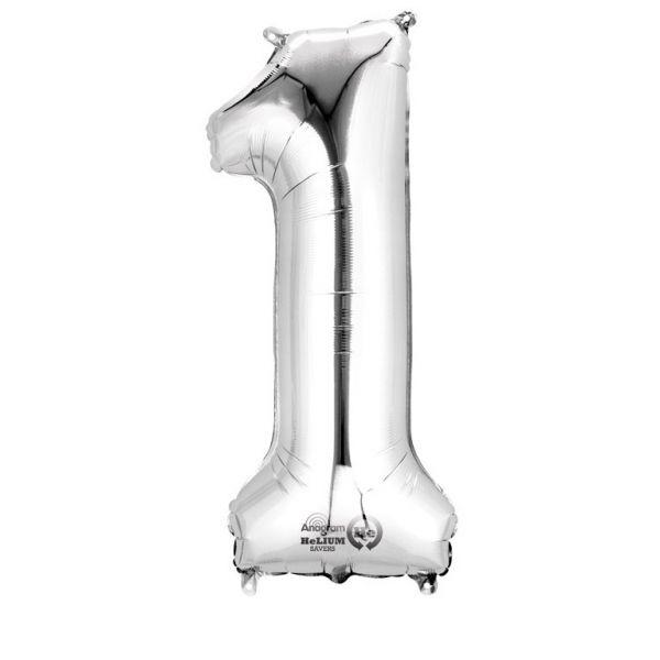 Zahl Silber - 1 Folienballon 33 X 86 cm