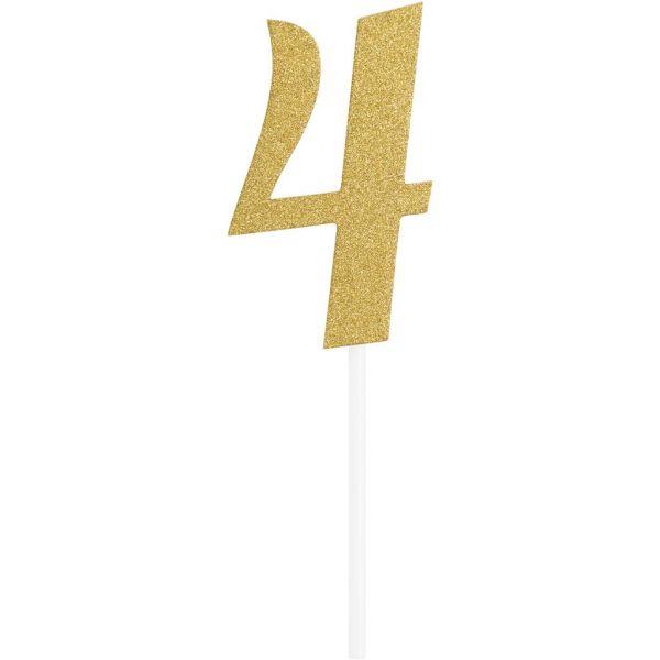 Gold Glitter Birthday Cake Topper 4