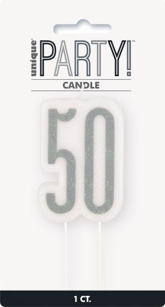 Birthday Glitz Silber Geburtstagskerze 50