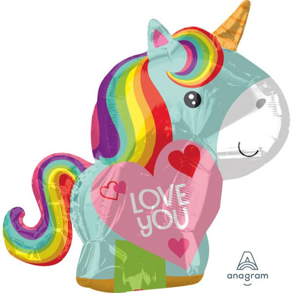 Einhorn Love You Folienballon 43 X 53 cm