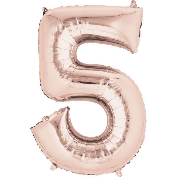 Zahl Rose Gold - 5 Folienballon 58 X 86 cm