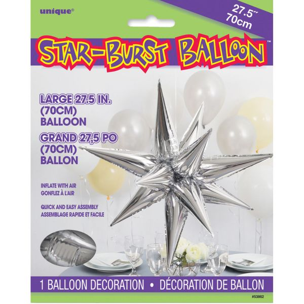 Starburst Silver 3D Folienballon