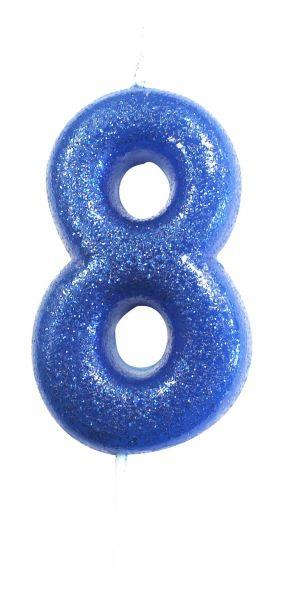 Kerze Glitter Blau 8