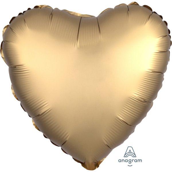 Herz Luxe Gold Satin Folienballon 43 cm