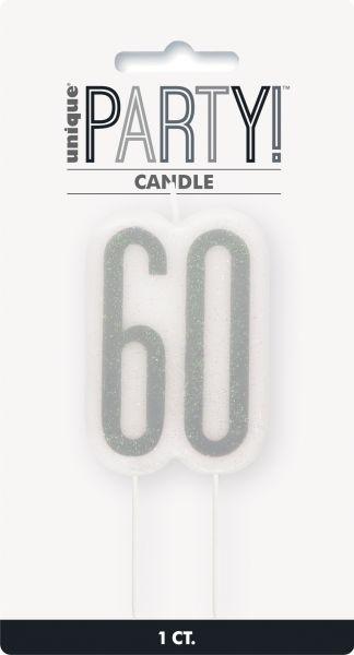 Birthday Glitz Silber Geburtstagskerze 60