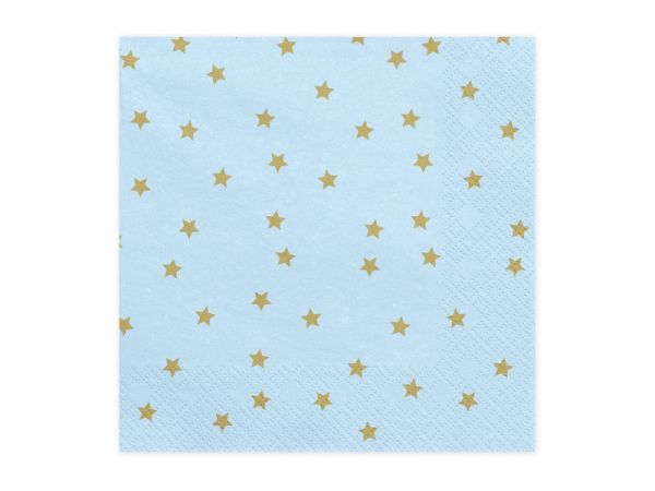Servietten Stars light blue