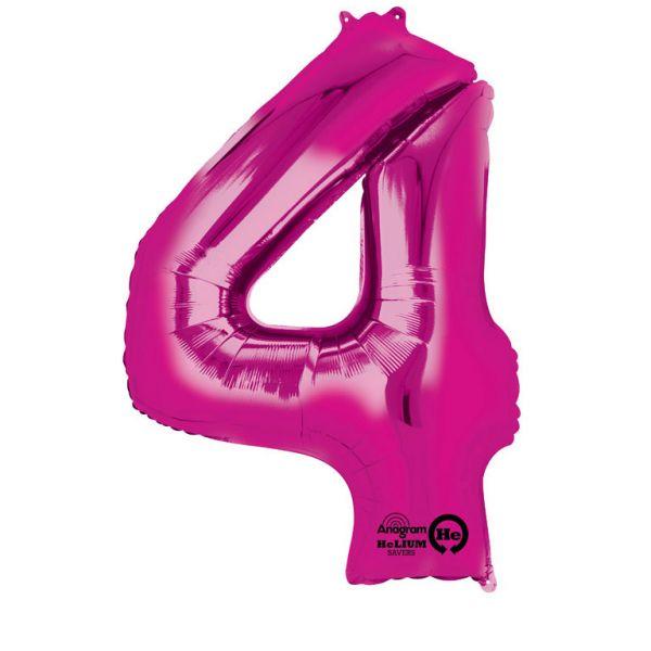 Zahl Pink - 4 Folienballon 66 X 88 cm