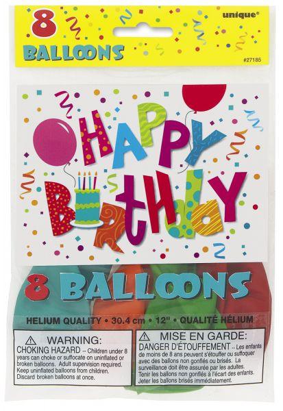 Happy Birthday Jamboree 8 Ballons 30 cm