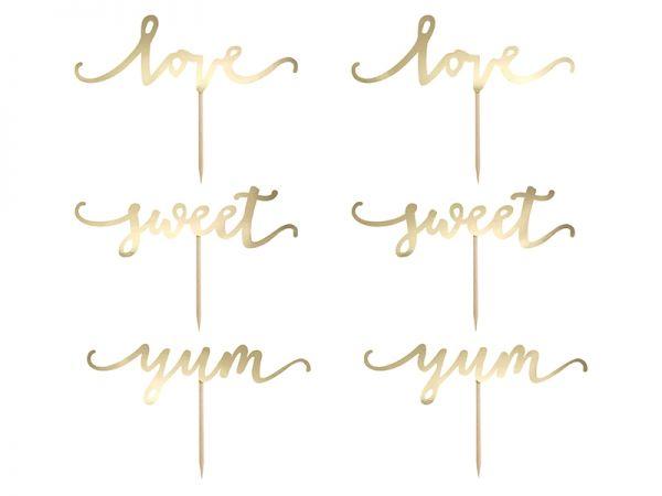 Cupcake Topper Gold Love/Sweet/Yum