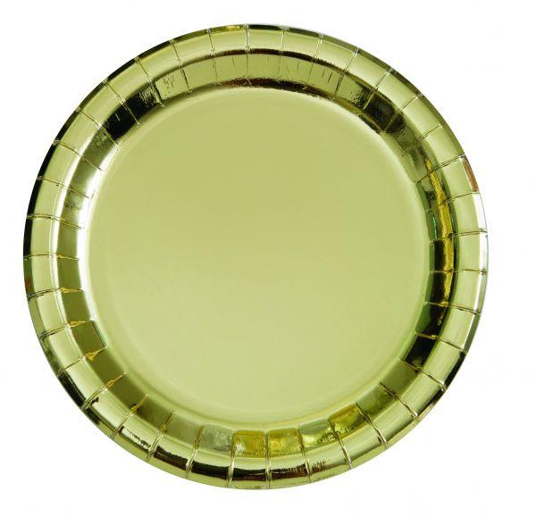 Gold Foil 8 Pappteller 23 cm