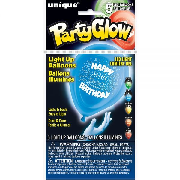 Light Up Ballon Happy Birthday 25 cm - 5 Stk