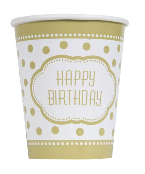 Golden Birthday 8 Pappbecher 266 ml