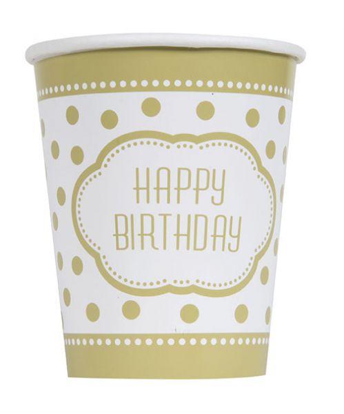Golden Birthday 8 Pappbecher 266 ml