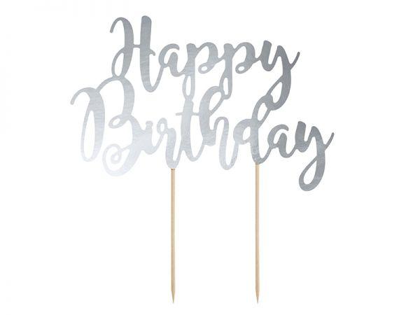 Cake Topper Silber Happy Birthday 22.5 cm