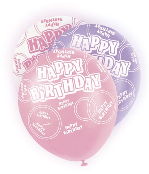 Happy B-Day 6 Ballons Pink