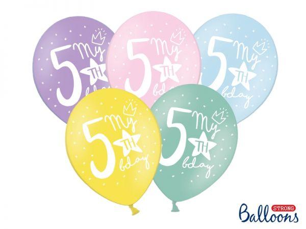 Ballon Happy Birthday 5 th Pastel Mix 30 cm/6