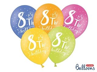 Ballon Happy Birthday 8 th Pastel Mix 30 cm/6