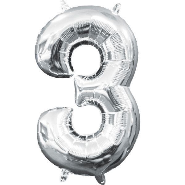 Mini Zahl Silber - 3 Folienballon 20 X 33 cm