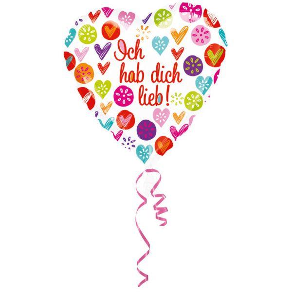 Ich hab Dich lieb Folienballon 43 cm