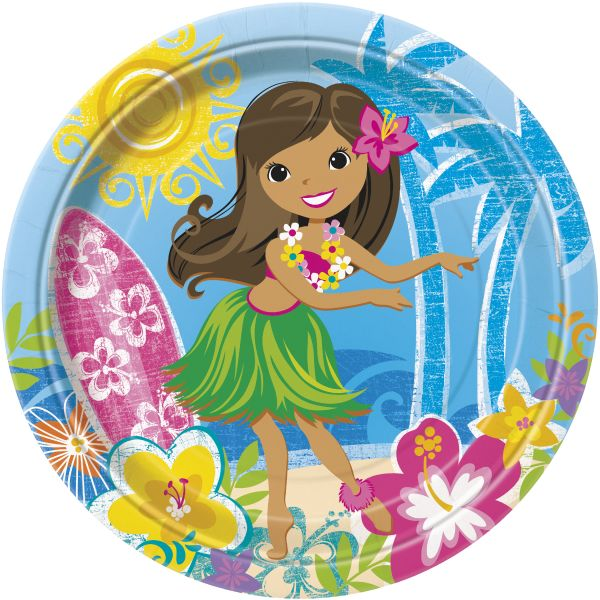 Pappteller Hula Beach Party 23 cm