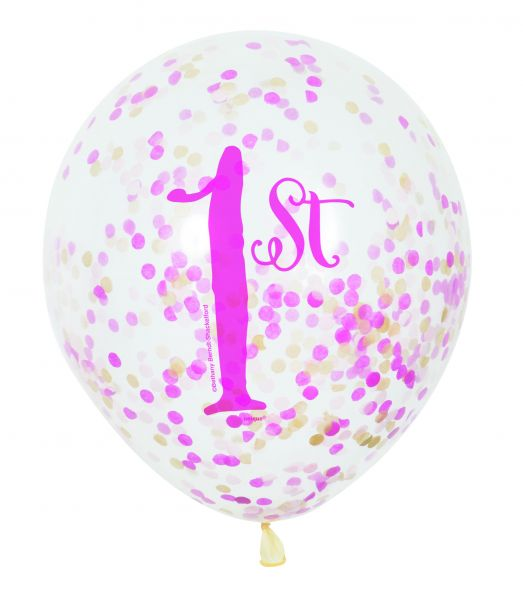 Pink Gold 1st Birthday Clear Ballon Confetti/6