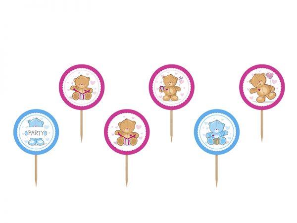 Cupcake Topper Teddy Bear - 6 Stk.