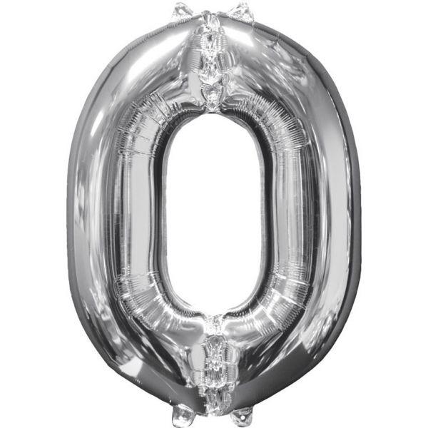 Zahl Silber - 0 Folienballon 51 X 66 cm