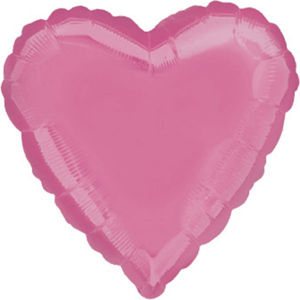 Herz Bubble Gum Pink Meta Folienballon 43 cm