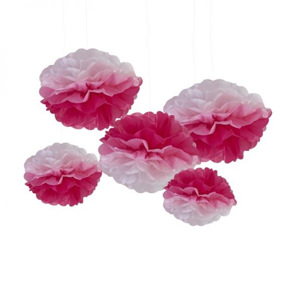 Pink Ombre Pom Poms Pick And Mix