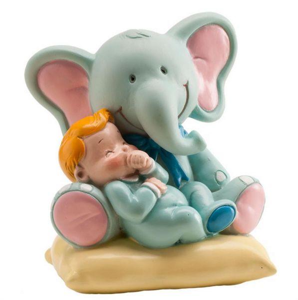 Baby mit Elefant - Junge 10 cm