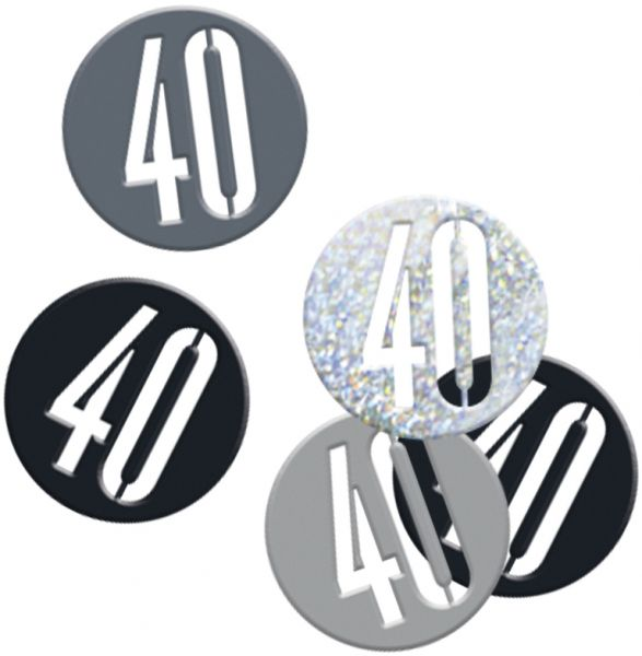 Birthday Glitz Schwarz Konfetti 40