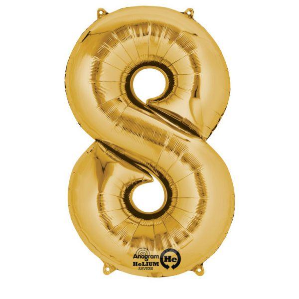 Zahl Gold - 8 Folienballon 53 X 83 cm