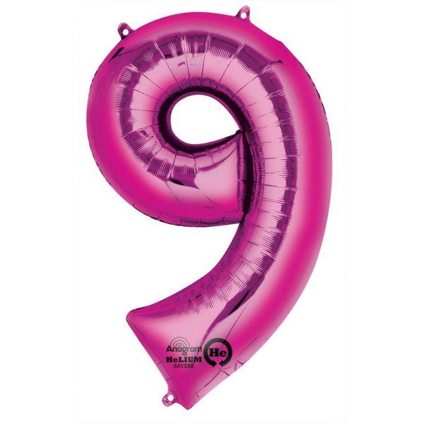 Zahl Pink - 9 Folienballon 63 X 86 cm