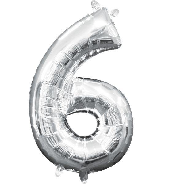 Mini Zahl Silber - 6 Folienballon 20 X 35 cm