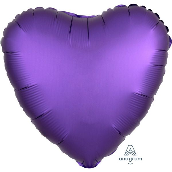 Herz Purple Royal Satin Folienballon 43 cm
