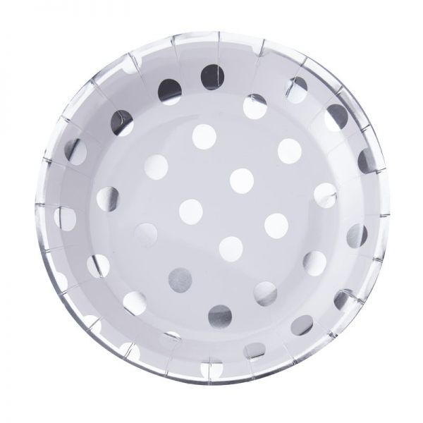 Silber Foil Dots Pappteller - Pick And Mix