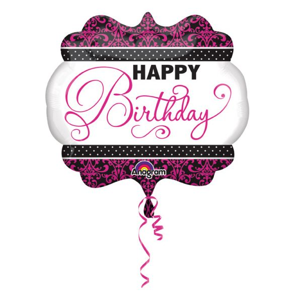 Pink-Black-White Birthday Folienballon 63 X 55 cm