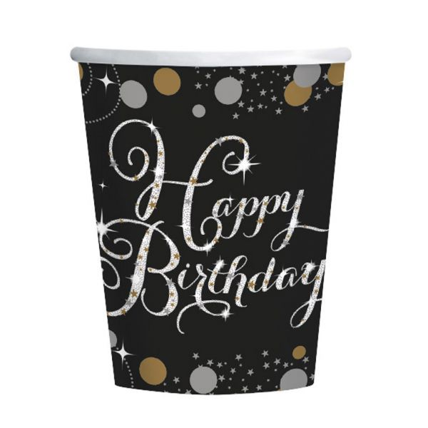 Sparkl. Celebration Gold Happy Birthday - 8 Becher