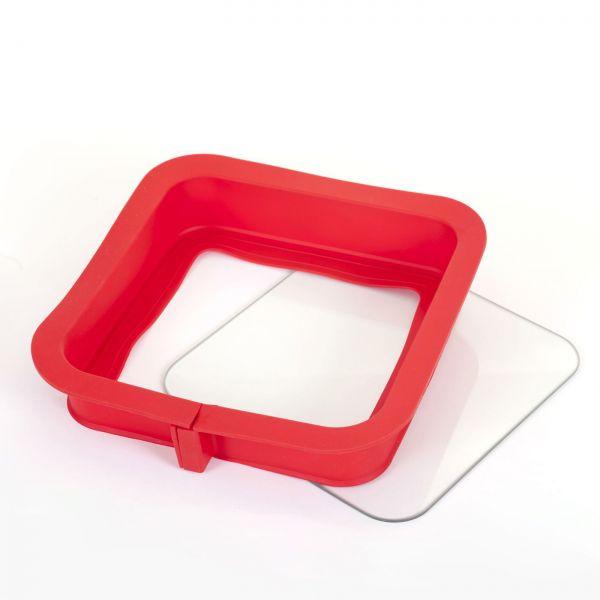 Silikonspringform mit Glasboden Eckig