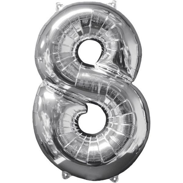 Zahl Silber - 8 Folienballon 45 X 66 cm