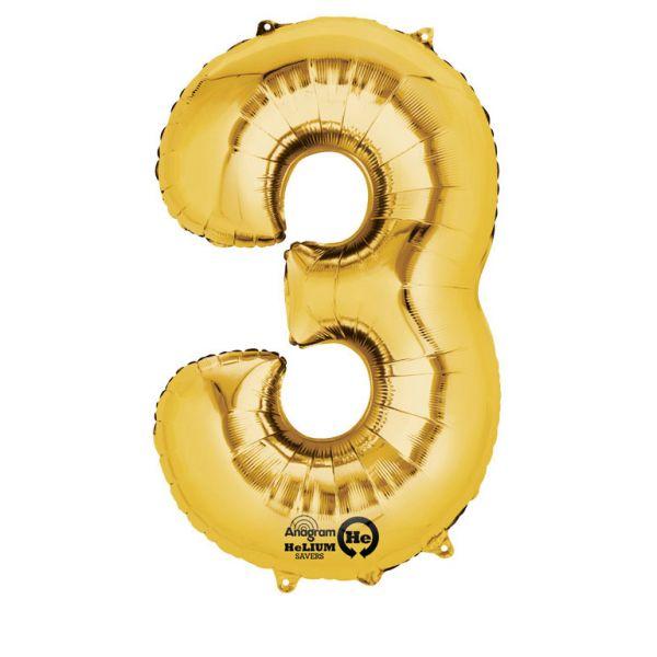Zahl Gold - 3 Folienballon 53 X 88 cm