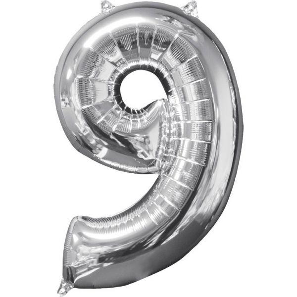 Zahl Silber - 9 Folienballon 43 X 66 cm
