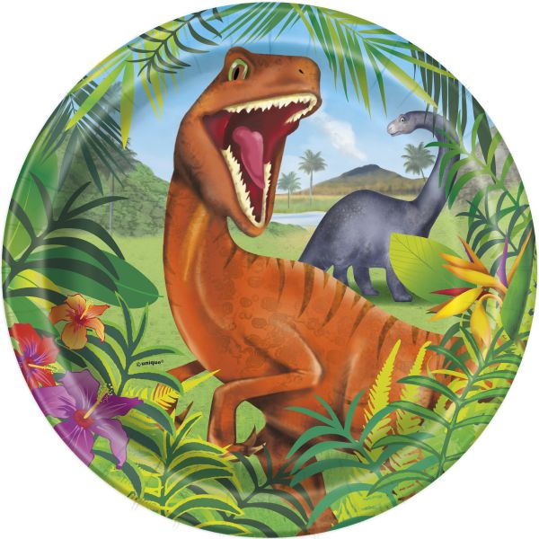 Dinosaurier 8 Pappteller 23 cm
