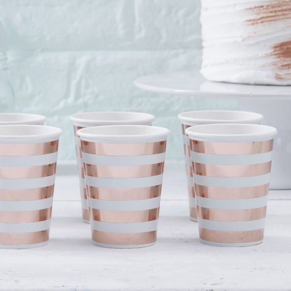 Mint & Rose Gold Hello World Pappbecher
