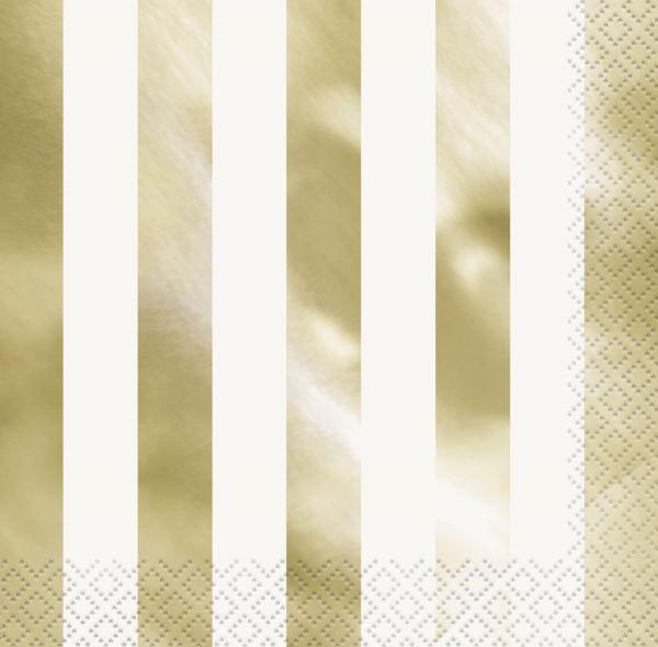 Gold Foil Stripes Servietten