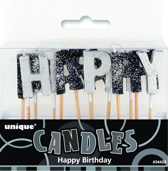 Happy Birthday Kerzen Black