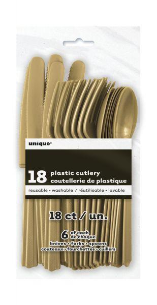 Plastikbesteck 18-teilig Gold