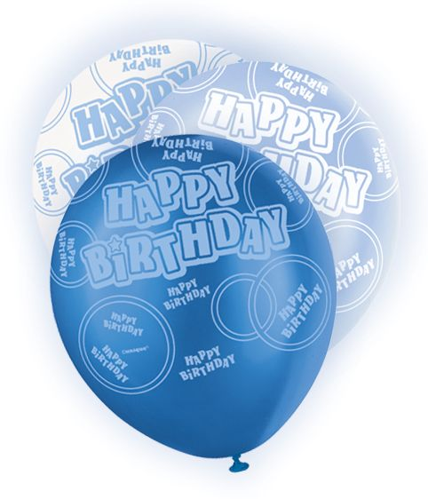 Happy B-Day 6 Ballons Blue
