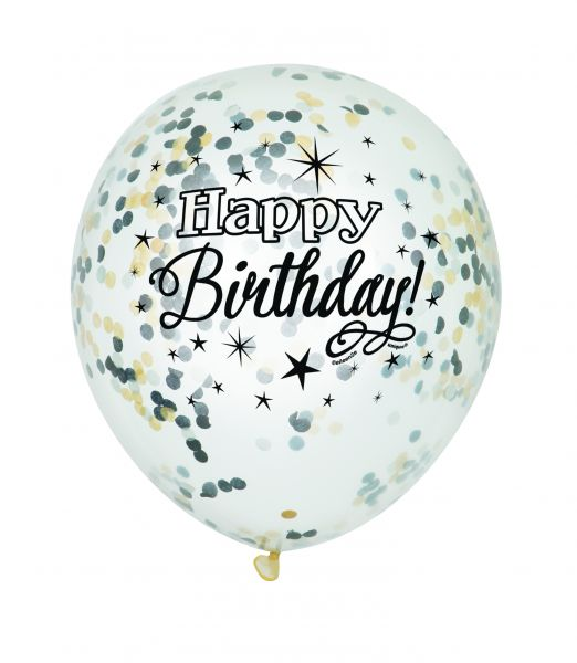 Black Confetti-Ballon Happy B-Day Clear 30 cm - 6 Stk